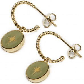 Silis The Earring Star Color Gold Out & Green