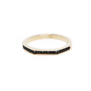 Silis The Ring Square Gold & Black Strass