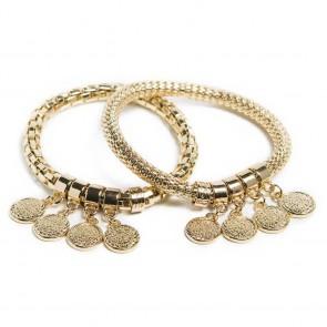 Silis The Snake Strass Gold Out & Shake Ur Coins Bracelet