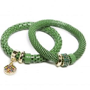 Silis The Snake Strass Medium Green Rainbow Strass