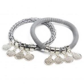 Silis The Snake Strass Morning Dawn Grey & Shake Ur Coins Bracelet