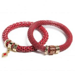 Silis The Snake Strass Red Rum & Diamond Charm Bracelet