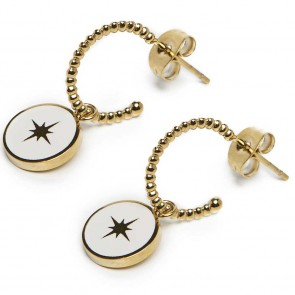 Silis The Earring Star Color Gold Out & White