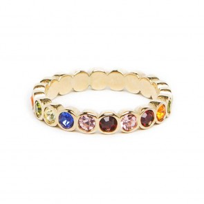 Silis The Ring Strass Gold & Rainbow Strass