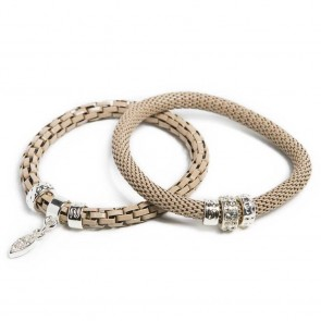 Silis Gypsy Camel & Oval Strass Cross Bracelet