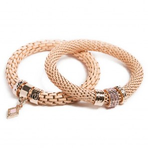 Silis The Snake Strass Apricot Brandy & Diamond Charm Bracelet
