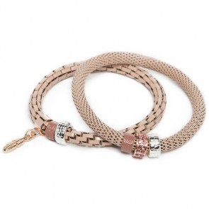 Silis The Snake Strass Cute Pink & Feather Charm