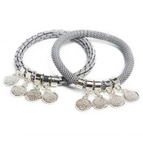 Silis The Snake Strass Morning Dawn Grey & Shake Ur Coins Bracelet